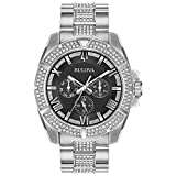 Bulova Men's Swarovski Crystal Quartz Watch with Stainless-Steel Strap, Silver, 22 (Model: 96C126)