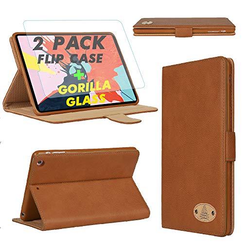 Gorilla Tech iPad Mini 4 iPad Mini 5 Funda de piel con protector de pantalla magnético a prueba de golpes, 2 unidades, color marrón, modelo A2133 A2124 A2126 A2125 A1538 A1550