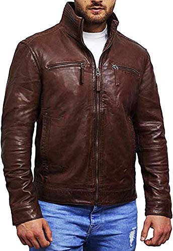 Brandslock Mens Leather Biker jacket Coat Designer (Medium, Brown)
