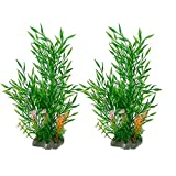 Smoothedo-Pets Acuario Plantas de Acuario Decoraciones de Tanque de Pescado Decoraciones de 11 pulgadas de Alto, Planta Artificial de Peces de Acuario Peces de Acuario de Bambú (Tipo B-2pcs)