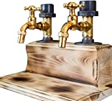 Dzhzuj Wooden Whiskey Liquor Dispenser,Father's Day Faucet Shape Liquor Dispenser Liquor Alcohol Whiskey Wood Dispenser for Party Dinners Bars and Beverage Stations (A)