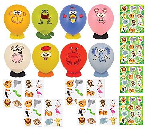 KINPARTY® 8 Luftballons 8 Tüten + 8 Umschläge Aufkleber Dschungeltiere für Mädchen und Jungen – Geburtstagsgeschenke – gefüllt mit Pinatas – Überraschungsgeschenke