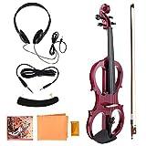 Alomejor Violin 4/4 Electric Violin Fiddle Maple Body con Auriculares Rosin para Violinista Rendimiento Profesional(Rojo)