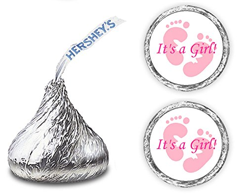 324 Its a Girl Pink Footprints Kisses Labels For Baby Shower Or Baby Sprinkle Party Or Event, Stickers, Wrappers, Favors