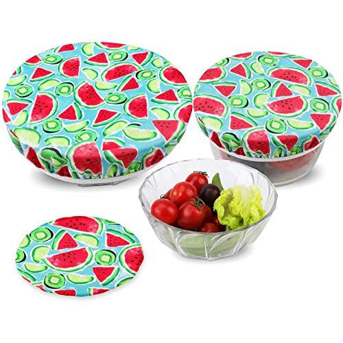 3 Tapas Reutilizables para Alimentos, Tapas de tazón estiradas, Tapas elásticas de Tela, se Adapta a Varios tamaños de recipientes de Vidrio, duraderas, Tapas para Mantener los Alimentos Frescos