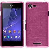 PhoneNatic Case kompatibel mit Sony Xperia E3 - pink Silikon Hülle Brushed + 2 Schutzfolien