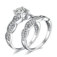 √ HIGH-QUALITY AAA CUBIC ZIRCONIA INFINITY 925 STERLING SILVER RING SET: Ring for women is made of solid S925 sterling silver, known amongst jewelry wearers for its strength, brightness, and shine.Sterling silver in our wedding bands is tarnish-resis...