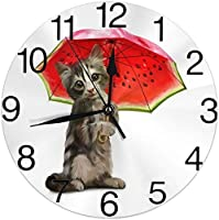 春の花ハチドリ丸い壁時計サイレント非カチカチバッテリー操作学生オフィス学校のために読みやすい家装飾時計アートかわいい子猫猫