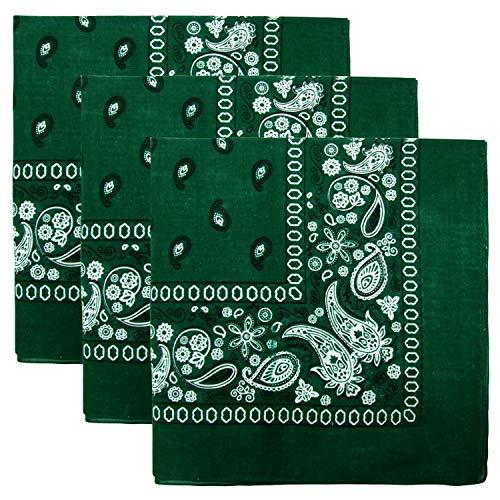 3 PK Cowboy Bandanas 100% Cotton 22 x 22 inch - Hunter Green