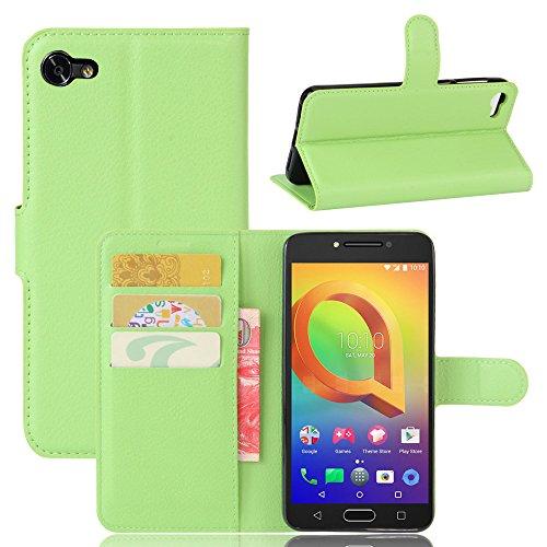 Tasche für Alcatel A5 Led (5.2 zoll) Hülle, Ycloud PU Ledertasche Flip Cover Wallet Hülle Handyhülle mit Stand Function Credit Card Slots Bookstyle Purse Design grün