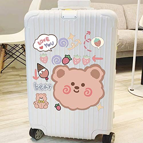 ZXXC Cute Gluttonous Snacks Bear Ins Japanese Suitcase Trolley Suitcase Luggage Stickers Waterproof 19 Pieces