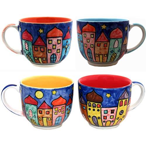 Gall&Zick Tasse Kaffeetasse Teetasse Geschirr Keramik Bemalt Bunt (Gemischt Set/4, Klein)