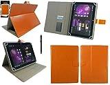 emartbuy Schwarz Eingabestift + HP Pro Tablet 608 G1 Windows 8 Zoll Tablet Universalbereich (8-9 Zoll) Orange PU LederMulti Winkel Folio Cover Wallet Hülle Schutzhülle mit Kartensteckplätze