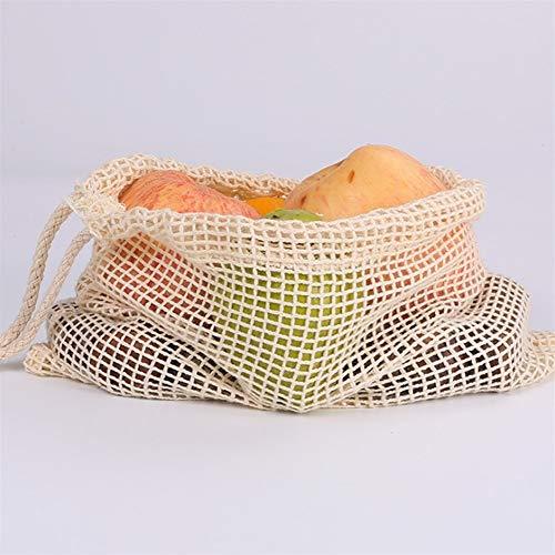 Bolsas de verduras ecológicas para almacenamiento de cocina, reutilizables, de primera calidad, con doble costura de alta calidad, con texto «Tara_Weight en palabras clave» y lago ligero.