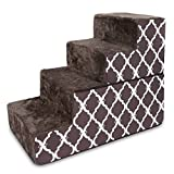 Made in USA Foldable Pet Steps/Stairs with CertiPUR-US Certified Foam by Best Pet Supplies  - Brown Lattice, 4-Steps (H: 22') (ST245T-L)