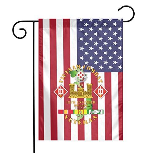 IYIFOO Vietnam Combat Engineer 18th Engineer Flag Garden Flag 12 X18 Logo American Flag