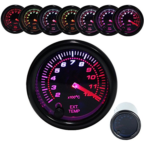 Dewhel Exhaust Gas Temperature Gauge EGT Meter Smoke Universal 7-Colors LED 52mm 12V 200-1200 Celsius W/Sensor