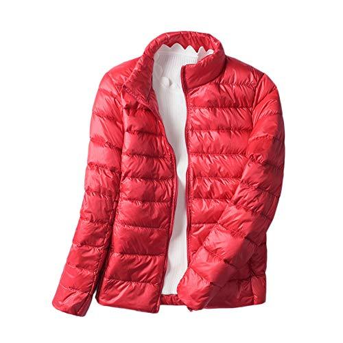 Chaqueta De Pluma Ultra Ligera Mujer Abrigo Cortas Parka De Invierno Übergangsjacke Rojo M