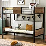 Metal and Wood Bunk Bed Twin Over Full Size Loft Bunk Bed Frame Twin Over Futon for Kids and Teens, with Ladders and Guard Rails, 300 lbs Weight Limits, Rustic Black