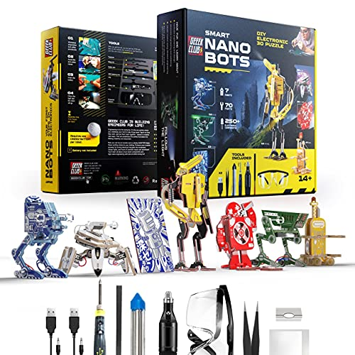 Geeek Club Robot Building Kit for Kids and Adults - Smart Nano Bots STEM Robotics Kits with Tools - Educational DIY Build Your Own Robot Set - Circuit Board Engineering Robotic Kid Science Toys