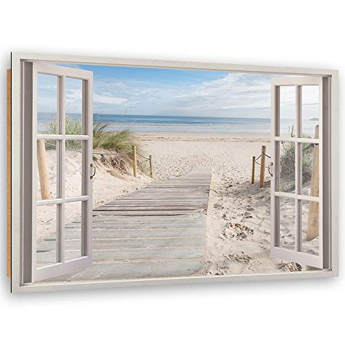 Feeby Cuadro Decoración Playa Arte de Pared 3D Ventana Beige 90x60 cm