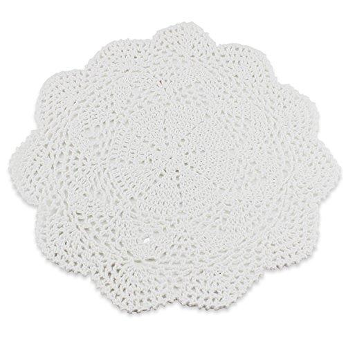 Psmgoods® - Tovagliette all'americana in pizzo di cotone, realizzate a mano, rotonde, motivo a fiori, lavorazione all'uncinetto, set di 4 tovagliette, Cotone, Burlap, 8 Round 25cm White