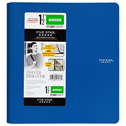 Five Star 1-1/2 Inch 3 Ring Binder, Plastic, Blue (38914)