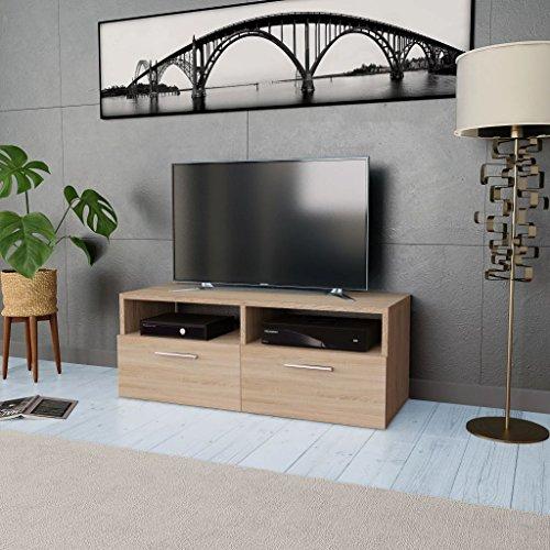 Tidyard Mesa para TV Mueble TV Salón Mesa Televisión Mueble Comedor Televisor Bajo con 2 Estantes y 2 Armarios Estilo de Moderno PVC 95x35x36cm Roble