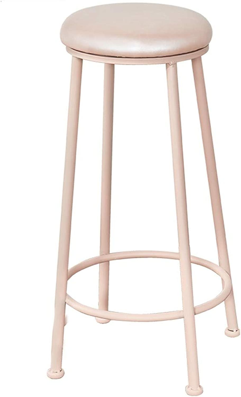 LJFYXZ Bar Stool Bar Furniture Round high Stool PU seat Kitchen Chair Wrought Iron Frame Home bar Chair Bearing Weight 150kg 73cm high Pink