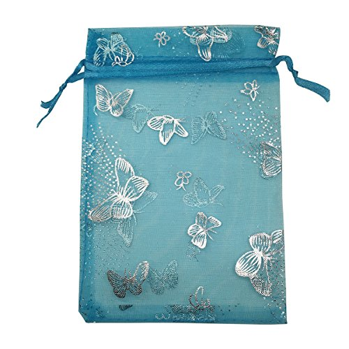 YIJUE 100pcs 4x6 inches Drawstrings Organza Gift Candy Bags Wedding Favors Bags (Turquoise with Silver Butterfly)