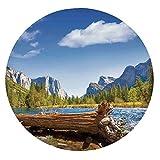 Yosemite Merced River El Capitan - Mantel de paisaje acuático (poliéster, con bordes elásticos)