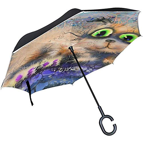 Mike-Shop Inverted Umbrella Autos Reverse Umbrella Cat Abstrakte Malerei Halloween Winddicht UV Proof Reise Outdoor Umbrella