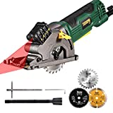 "Circular Saw, TECCPO 4.8Amp 3700 RPM Compact Mini Circular Saw 3-3/8"" with Laser Guide, 3 Saw Blades, Scale Ruler and Pure Copper Motor, Ideal for Wood, Tile, Aluminum and Plastic Cuts - TAPS22P"