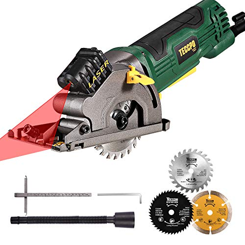 "Circular Saw, TECCPO 3-3/8"" 3700 RPM Compact Mini Circular Saw with Laser Guide, 3 Saw Blades, Scale Ruler and 4.8Amp Pure Copper Motor, Ideal for Wood, Tile, Aluminum and Plastic Cuts - TAPS22P"