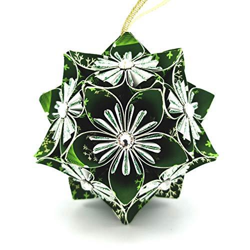 Palla di Natale originale impreziosita con cristalli Swarovski® - idea regalo - decorazione per l'albero - Fatto a mano di carta - Verde - Large 9 cm con scatola 10x10x10 cm
