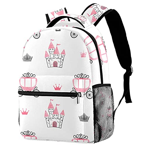 Mochilas de viaje para campus, castillos, coronas, carruajes, bolsas de princesa con soporte para botellas para niñas y niños