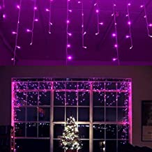 YOLIGHT 13ft 96 LEDs Icicle Curtain String Drop Lights, Indoor Outdoor Decoration for Christmas Festival Wedding Party Patio Garden (Purple)