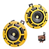GAMPRO Car Horn Kit 12V 135db Super Loud High Tone and Low Tone Metal Twin Horn Kit with Bracket for Cars Trucks SUVs RVs Vans Motorcycles Off road Boats(Yellow)