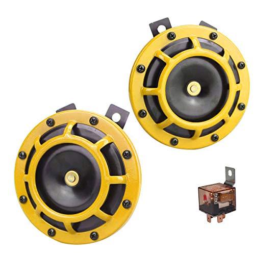Kit de cuerno de coche GAMPRO 12V 135db Súper ruidoso de alto tono y metal de tono bajo Conjunto de cuerno doble con soporte para automóviles Camiones SUV RVs Vans(amarillo)