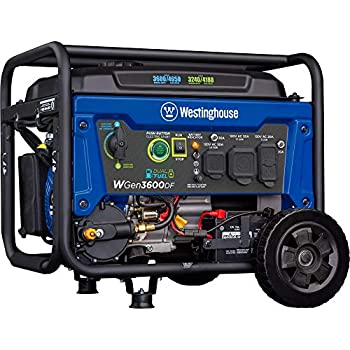 Westinghouse Outdoor Power Equipment WGen3600DF Dual Fuel  Gas and Propane  Electric Start Portable Generator 3600 Rated 4650 Peak Watts RV Ready CARB Compliant