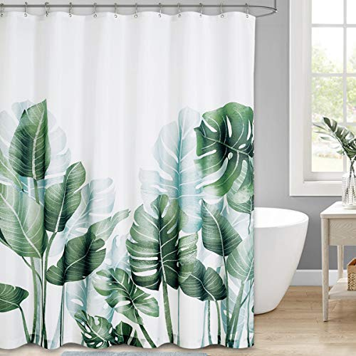 NICETOWN Duschvorhang Polyester Stoff Badewanne Vorhang mit Bananenblatt Druckmuster Wasserdichter Duschvorhang 180x180 cm mit 12 Haken