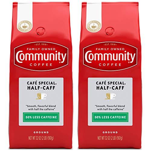 Community Coffee Half Caff Medium-Dark Roast Ground Coffee, 32 Ounce Bag (Pack of 2)