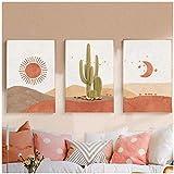 Tableau Decoration Murale Paysage abstrait scène de soleil et de lune affiches et impressions sur toile cactus désert nordique peinture mur Art photo salon décor 11.8x15.7in (30x40cm) x3pcs sans cadr