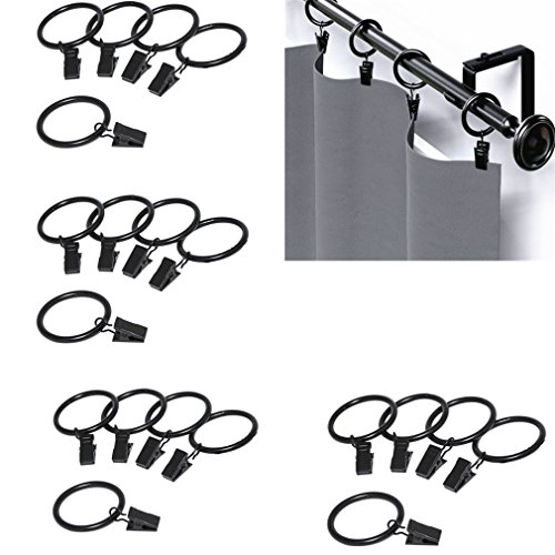 Qiorange 20Pcs Curtain Rings Clips, Metal Drapery Cloth Pegs with Ring Pincer Clip Curtain Rod Rings Drapery Clips (Black 20Pcs)