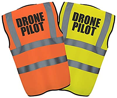 DRONE PILOT - Hi Vis Hi Viz High Visibility Reflective Safety Vest/Waistcoat | Yellow/Orange PPE