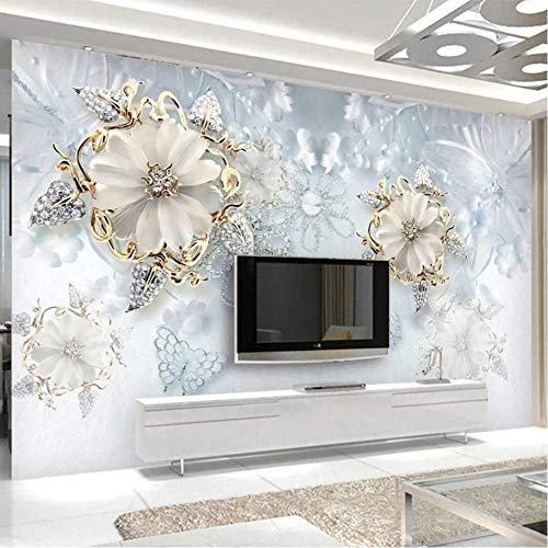 fczka Carta da parati murale impermeabile autoadesiva Moderna Semplice Gioiello Diamante Fiore Affresco Soggiorno TV Divano Camera da letto Adesivo 3D-S