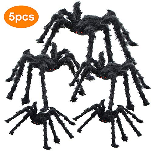 BEIGUO 5pcs Halloween Spider Gaint Hairy Spider with Red...