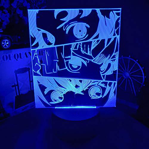 Luz nocturna 3D para niños de anime Demon Slayer Face Splice Kimetsu No Yaiba manga 3D Luz nocturna Otaku Dormitorio lámpara en la mesa Kawaii Gaming Habitación Decoración 7 colores cambiantes