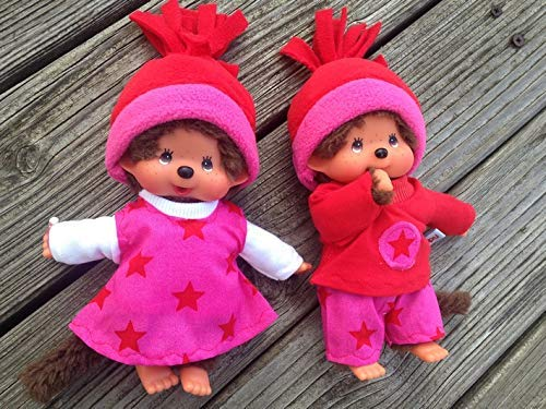 Puppenkleidung handmade passend für MONCHICHI Gr. 20 cm Zwillinge Bekleidung STERNE Sternchen Kleidung 6-tlg. Kleiderset NEU Weihnachten