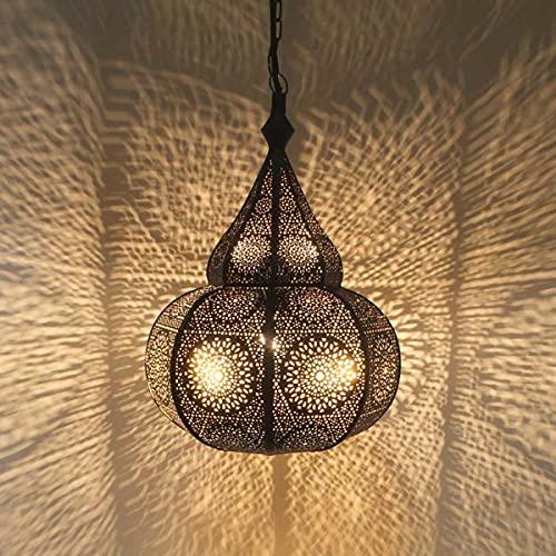 Casa Moro Orientalische Lampe Tayma Gold mit E27 Fassung & Baldachin & Hängekette   Prachtvolle Pendelleuchte wie aus 1001 Nacht   marokkanischer Stil Boho Leuchte   LN3030